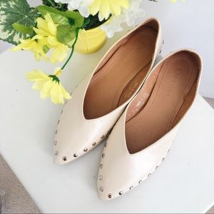 V Cut Cream Flats with Studs Detail size 6.5